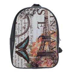 Vintage Clock Blue Butterfly Paris Eiffel Tower Fashion School Bag (xl)