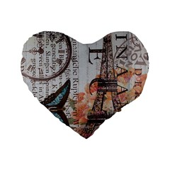 Vintage Clock Blue Butterfly Paris Eiffel Tower Fashion 16  Premium Heart Shape Cushion