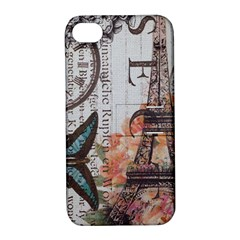 Vintage Clock Blue Butterfly Paris Eiffel Tower Fashion Apple Iphone 4/4s Hardshell Case With Stand