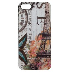 Vintage Clock Blue Butterfly Paris Eiffel Tower Fashion Apple iPhone 5 Hardshell Case with Stand