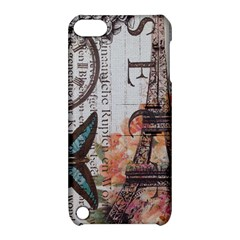 Vintage Clock Blue Butterfly Paris Eiffel Tower Fashion Apple iPod Touch 5 Hardshell Case with Stand