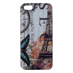 Vintage Clock Blue Butterfly Paris Eiffel Tower Fashion iPhone 5 Premium Hardshell Case