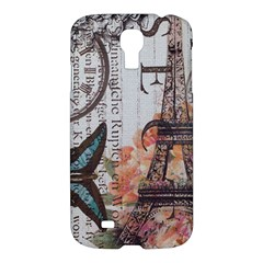 Vintage Clock Blue Butterfly Paris Eiffel Tower Fashion Samsung Galaxy S4 I9500/I9505 Hardshell Case