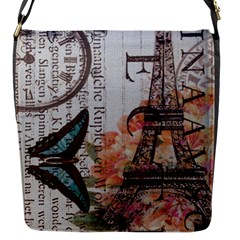 Vintage Clock Blue Butterfly Paris Eiffel Tower Fashion Flap closure messenger bag (Small)