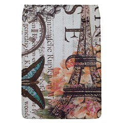 Vintage Clock Blue Butterfly Paris Eiffel Tower Fashion Removable Flap Cover (Small)