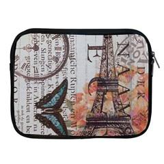 Vintage Clock Blue Butterfly Paris Eiffel Tower Fashion Apple iPad 2/3/4 Zipper Case