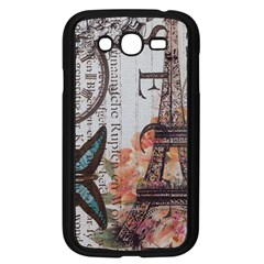 Vintage Clock Blue Butterfly Paris Eiffel Tower Fashion Samsung I9082(galaxy Grand Duos)(black)