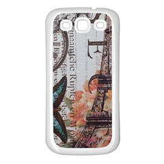 Vintage Clock Blue Butterfly Paris Eiffel Tower Fashion Samsung Galaxy S3 Back Case (White)
