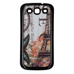 Vintage Clock Blue Butterfly Paris Eiffel Tower Fashion Samsung Galaxy S3 Back Case (Black)