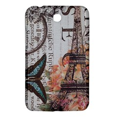 Vintage Clock Blue Butterfly Paris Eiffel Tower Fashion Samsung Galaxy Tab 3 (7 ) P3200 Hardshell Case