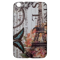 Vintage Clock Blue Butterfly Paris Eiffel Tower Fashion Samsung Galaxy Tab 3 (8 ) T3100 Hardshell Case