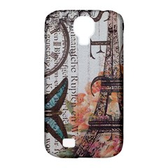Vintage Clock Blue Butterfly Paris Eiffel Tower Fashion Samsung Galaxy S4 Classic Hardshell Case (PC+Silicone)