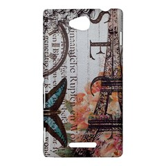 Vintage Clock Blue Butterfly Paris Eiffel Tower Fashion Sony Xperia C (S39h) Hardshell Case