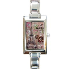 Girly Bee Crown  Butterfly Paris Eiffel Tower Fashion Rectangular Italian Charm Watch