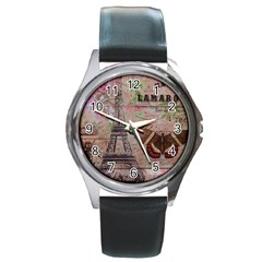 Girly Bee Crown  Butterfly Paris Eiffel Tower Fashion Round Metal Watch (silver Rim)