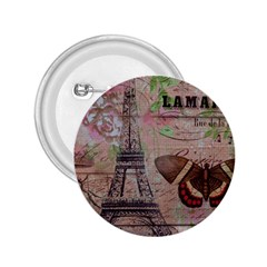 Girly Bee Crown  Butterfly Paris Eiffel Tower Fashion 2.25  Button