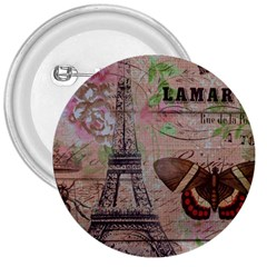 Girly Bee Crown  Butterfly Paris Eiffel Tower Fashion 3  Button