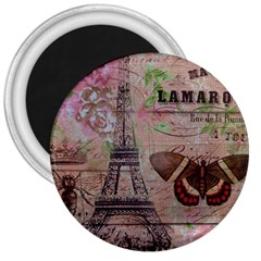 Girly Bee Crown  Butterfly Paris Eiffel Tower Fashion 3  Button Magnet