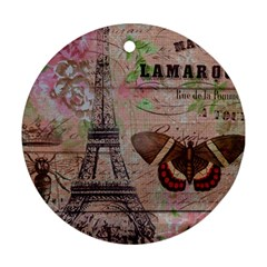 Girly Bee Crown  Butterfly Paris Eiffel Tower Fashion Round Ornament