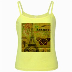 Girly Bee Crown  Butterfly Paris Eiffel Tower Fashion Yellow Spaghetti Tank