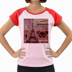 Girly Bee Crown  Butterfly Paris Eiffel Tower Fashion Women s Cap Sleeve T-Shirt (Colored)