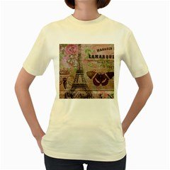 Girly Bee Crown  Butterfly Paris Eiffel Tower Fashion  Womens  T-shirt (Yellow)