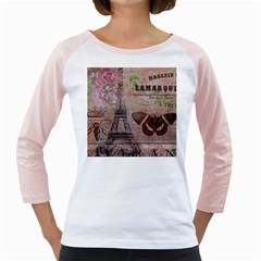 Girly Bee Crown  Butterfly Paris Eiffel Tower Fashion Womens  Long Sleeve Raglan T Shirt (white)