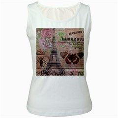 Girly Bee Crown  Butterfly Paris Eiffel Tower Fashion Womens  Tank Top (white)