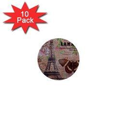 Girly Bee Crown  Butterfly Paris Eiffel Tower Fashion 1  Mini Button (10 pack)