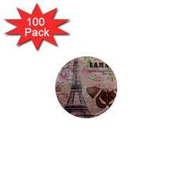 Girly Bee Crown  Butterfly Paris Eiffel Tower Fashion 1  Mini Button Magnet (100 pack)