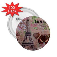 Girly Bee Crown  Butterfly Paris Eiffel Tower Fashion 2.25  Button (100 pack)