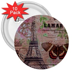 Girly Bee Crown  Butterfly Paris Eiffel Tower Fashion 3  Button (10 pack)