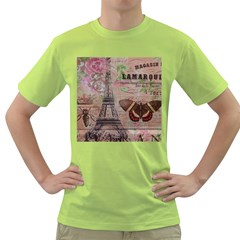 Girly Bee Crown  Butterfly Paris Eiffel Tower Fashion Mens  T-shirt (Green)