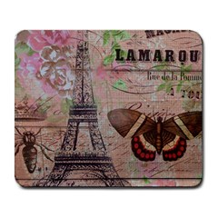 Girly Bee Crown  Butterfly Paris Eiffel Tower Fashion Large Mouse Pad (rectangle)