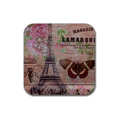 Girly Bee Crown  Butterfly Paris Eiffel Tower Fashion Drink Coaster (Square)