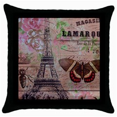 Girly Bee Crown  Butterfly Paris Eiffel Tower Fashion Black Throw Pillow Case