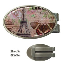 Girly Bee Crown  Butterfly Paris Eiffel Tower Fashion Money Clip (Oval)