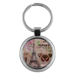 Girly Bee Crown  Butterfly Paris Eiffel Tower Fashion Key Chain (Round)