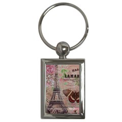 Girly Bee Crown  Butterfly Paris Eiffel Tower Fashion Key Chain (Rectangle)