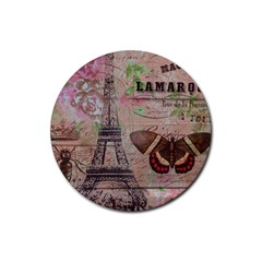 Girly Bee Crown  Butterfly Paris Eiffel Tower Fashion Drink Coaster (round)