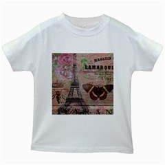 Girly Bee Crown  Butterfly Paris Eiffel Tower Fashion Kids' T-shirt (White)