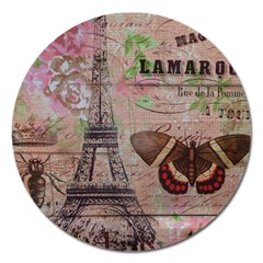 Girly Bee Crown  Butterfly Paris Eiffel Tower Fashion Magnet 5  (round)
