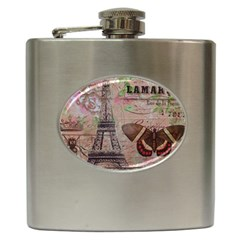 Girly Bee Crown  Butterfly Paris Eiffel Tower Fashion Hip Flask