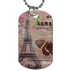 Girly Bee Crown  Butterfly Paris Eiffel Tower Fashion Dog Tag (two Sided)