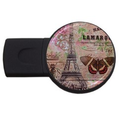 Girly Bee Crown  Butterfly Paris Eiffel Tower Fashion 2GB USB Flash Drive (Round)