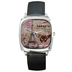Girly Bee Crown  Butterfly Paris Eiffel Tower Fashion Square Leather Watch