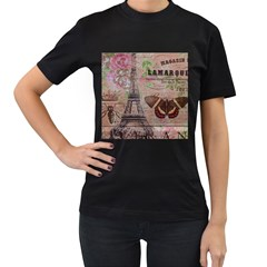 Girly Bee Crown  Butterfly Paris Eiffel Tower Fashion Womens' Two Sided T Shirt (black)