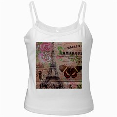 Girly Bee Crown  Butterfly Paris Eiffel Tower Fashion White Spaghetti Top