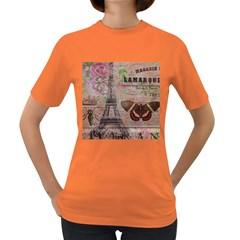 Girly Bee Crown  Butterfly Paris Eiffel Tower Fashion Womens' T-shirt (Colored)