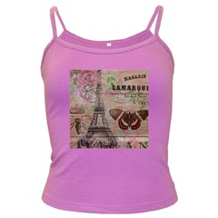 Girly Bee Crown  Butterfly Paris Eiffel Tower Fashion Spaghetti Top (Colored)